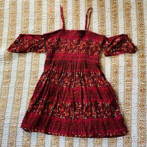 Francesca's red floral off the shoulder dress